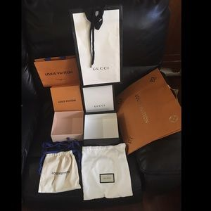 Louis Vuitton and Gucci Packaging